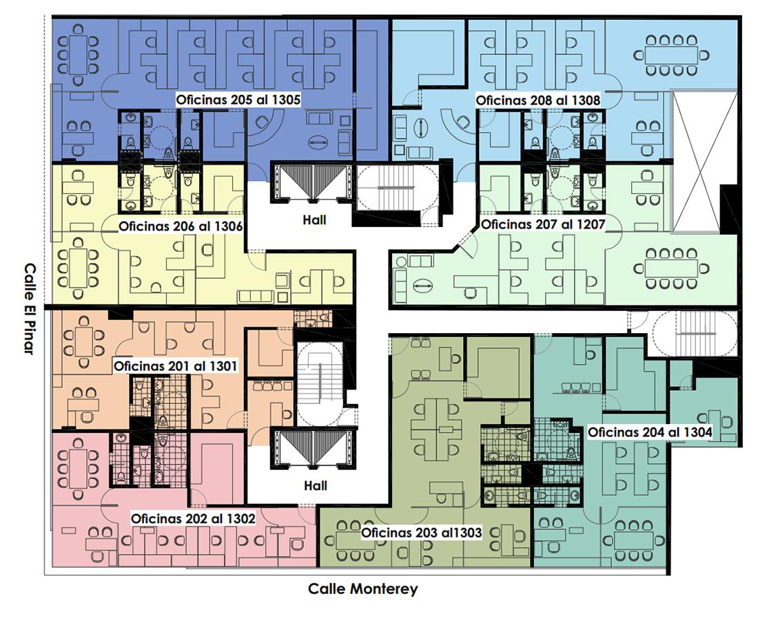 Edificio vistacorp for Plantas de oficinas arquitectura